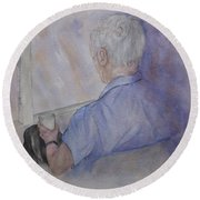 Memory Thoughts By The Window Round Beach Towel