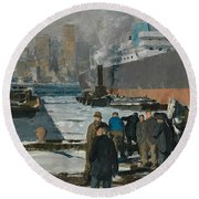 Men Of The Docks Round Beach Towel
