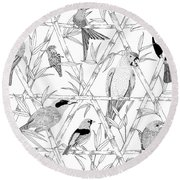 Menagerie Black And White Round Beach Towel by Jacqueline Colley