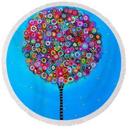 Round Beach Towel featuring the painting Purpose Of Life by Pristine Cartera Turkus