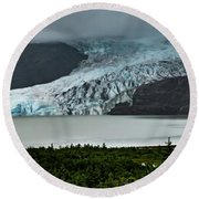Round Beach Towel featuring the photograph Mendenhall Glacier by Ed Clark