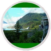 Round Beach Towel featuring the photograph Mendenhall Glacier View From Center by Janette Boyd