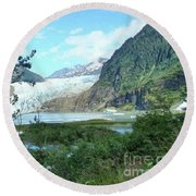 Round Beach Towel featuring the photograph Mendenhall Glacier View From Path by Janette Boyd
