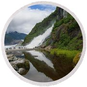 Mendenhall Waterfall Round Beach Towel