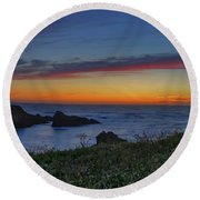 Mendocino Headlands Sunset Round Beach Towel