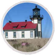 Mendocino Lighthouse Round Beach Towel