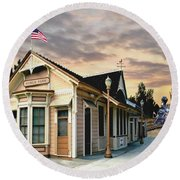 Menlo Park Station Round Beach Towel by Ron Chambers