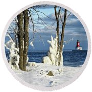 Menominee Lighthouse Ice Sculptures Round Beach Towel