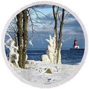 Menominee Lighthouse Ice Sculptures Round Beach Towel