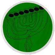 Menorah 1 Round Beach Towel