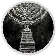 Round Beach Towel featuring the photograph Menorah by Aaron Berg