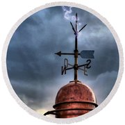 Menorca Copper Lighthouse Dome With Lightning Rod Under A Bluish And Stormy Sky And Lightning Effect Round Beach Towel by Pedro Cardona