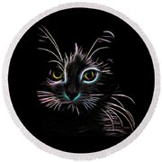 Round Beach Towel featuring the digital art Meow  by Aaron Berg
