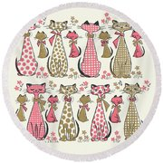 Meow... Round Beach Towel