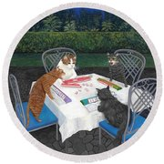 Meowjongg - Cats Playing Mahjongg Round Beach Towel