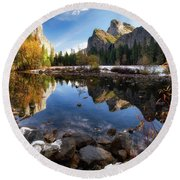 Merced Reflections Round Beach Towel