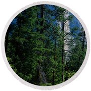 Merced River And El Capitan Yosemite Round Beach Towel by Panoramic Images