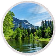 Merced River In Yosemite Valley Round Beach Towel