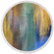 Merced River Reflections 17 Round Beach Towel
