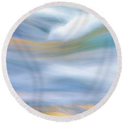 Merced River Reflections 19 Round Beach Towel