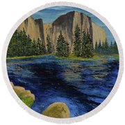 Merced River, Yosemite Park Round Beach Towel