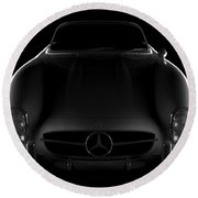Mercedes 300 Sl Roadster - Front View Round Beach Towel