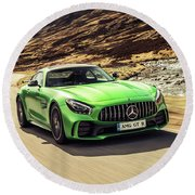 Mercedes A M G  G T  R Round Beach Towel by Movie Poster Prints