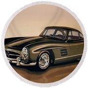 Mercedes Benz 300 Sl 1954 Painting Round Beach Towel