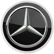 Mercedes-benz - 3d Badge On Black Round Beach Towel