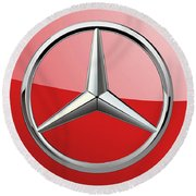 Mercedes-benz - 3d Badge On Red Round Beach Towel by Serge Averbukh