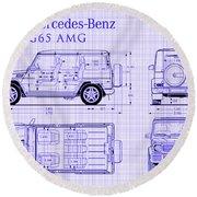 Mercedes Benz G 65 Amg Blueprint Round Beach Towel