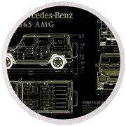 Mercedes Benz G 65 Blueprint Black Round Beach Towel