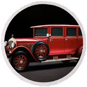 Mercedes-benz Typ 300 Pullman Limousine 1926 Painting Round Beach Towel