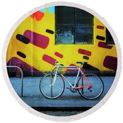 Round Beach Towel featuring the photograph Mercury Raleigh Bicycle by Craig J Satterlee