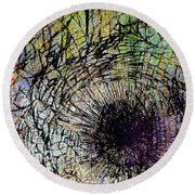 Round Beach Towel featuring the mixed media Mercy by Tony Rubino