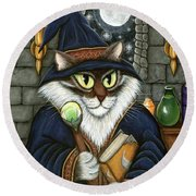 Merlin The Magician Cat Round Beach Towel