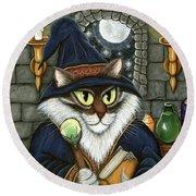 Merlin The Magician Cat Round Beach Towel