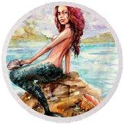 Mermaid 4 Round Beach Towel