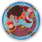 Mermaid And Catfish Round Beach Towel