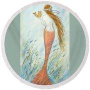 Mermaid And Her Catfish, Goldie Round Beach Towel