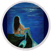 Round Beach Towel featuring the painting Mermaid And Her Daughter by Leslie Allen