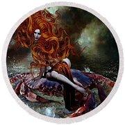 Mermaid And The Crab     Round Beach Towel