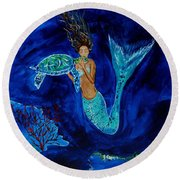Mermaid And The Sea Turtle Round Beach Towel by Leslie Allen