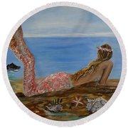 Mermaid Beauty Round Beach Towel