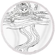 Mermaid Bubblebath Bw Round Beach Towel