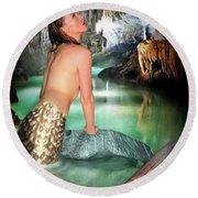 Mermaid In A Cave Round Beach Towel