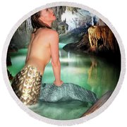 Mermaid In A Cave Round Beach Towel