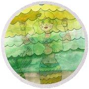 Mermaid Round Beach Towel by Lori Seaman