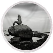 Mermaid Of The North Mono Round Beach Towel