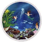 Mermaid Recess Round Beach Towel